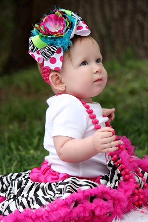 Trendy Turquoise Lime & Pink - Over-the-Top Hair Bow Headband-colorful, flower, bling, infant, baby girl, boutique, hairbow
