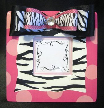 Girls Hand Painted Zebra Print Frame