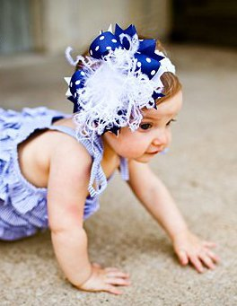 Blue & White Over-the-Top Hair Bow Headband-royal, navy, infant, baby girl, boutique, hairbow, july 4th