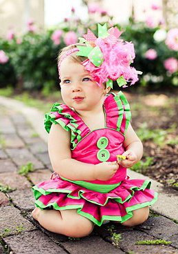 Little Sprout - Over-the-Top Hair Bow Headband-hot pink, lime, infant, baby girl, boutique hairbow
