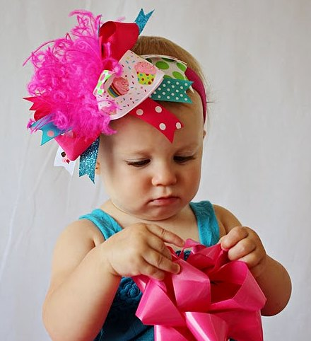 Sweetest Cupcake - Over-the-Top Hair Bow Headband-pink, cupcakes, birthday party, 1st birthday, infant, baby girl, hairbow