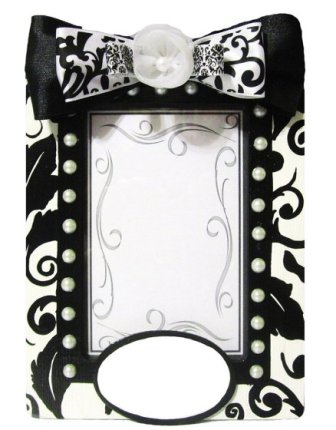 Girls Black & White Damask Picture Frame-infant, baby girl, boutique, photo, picture frame, room, decoration