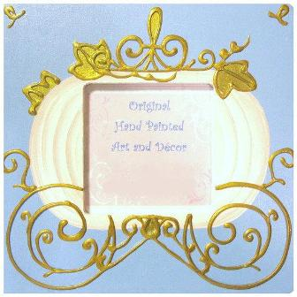 Girls Princess Handpainted Picture Frame-infant, baby girl, room decorations, blue, cinderella, photo frame, boutique