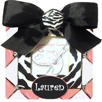 Girl's Hand Painted Black & Pink Zebra Frame