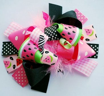 Pink Watermelon Hair Bow-pink, black, hot pink, summer, picnic