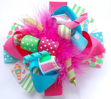Popsicles & Flip Flops Hair Bow-summer, hot pink, turquoise