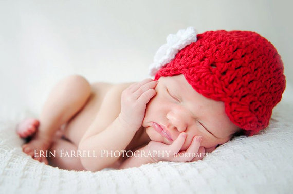 Bright Red and White Newborn Shell Beanie Hat-holiday, christmas, newborn, infant, baby girl, boutique, crochet hat