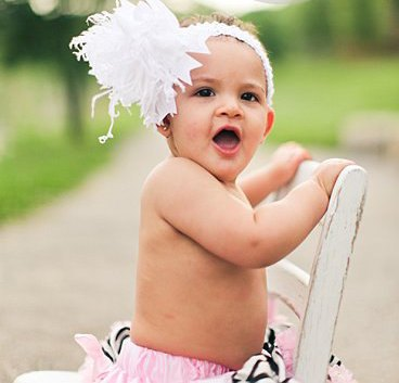 All White Over the Top Hair Bow Headband