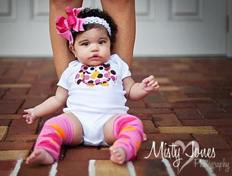 Pink & Orange Owl Onesie & Hair Bow Outfit Set