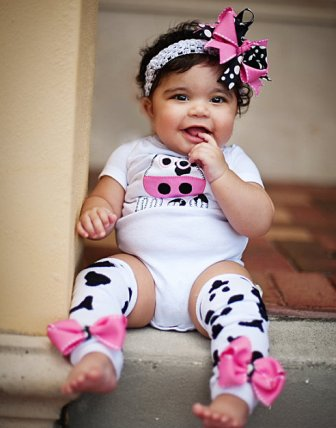 Moo Cow Onesie Hair Bow Outfit Set