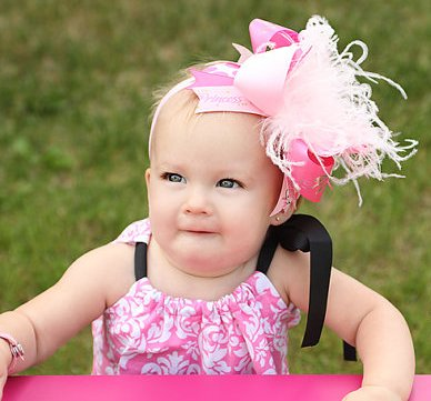 Pink Shimmer Princess - Over-the-Top Hair Bow Headband-light pink, hot pink, pink, princess, infant, baby girl, boutique, hairbow