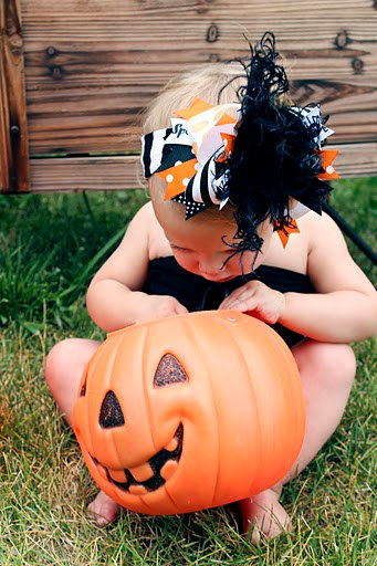 Classic Halloween - Over-the-Top Hair Bow Headband-orange, black, white, hairbow, infant, baby girl, boutique, halloween