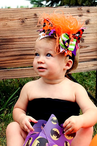 Witches Brew - Over-the-Top Hair Bow Headband-halloween, orange, black, witch, green, hairbow, infant, baby girl, boutique