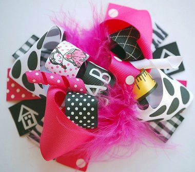 School Girl Hair Bow-school, back to school, abc, ruler, hot pink, black, white, schocking