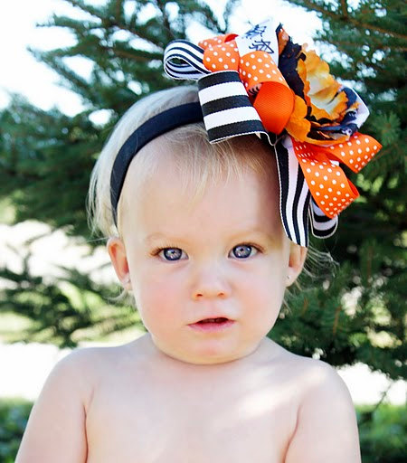Halloween Flower Over the Top Hair Bow Headband
