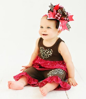 Brown & Raspberry Sequin Couture Outfit Set