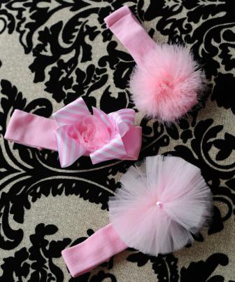 Set of 3 Newborn Baby Pink Headbands