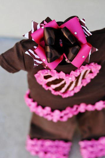 Brown Zebra & Hot Pink Ruffle Couture Outfit Set with Hair Bow