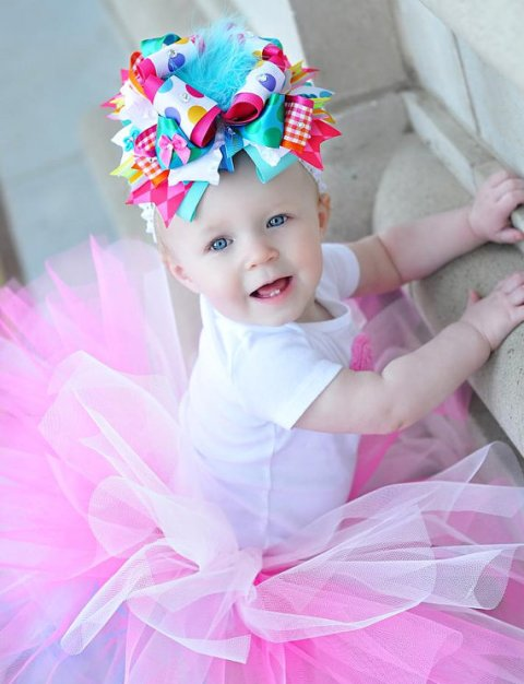 Multi Color Confetti Birthday Over the Top Hair Bow Headband