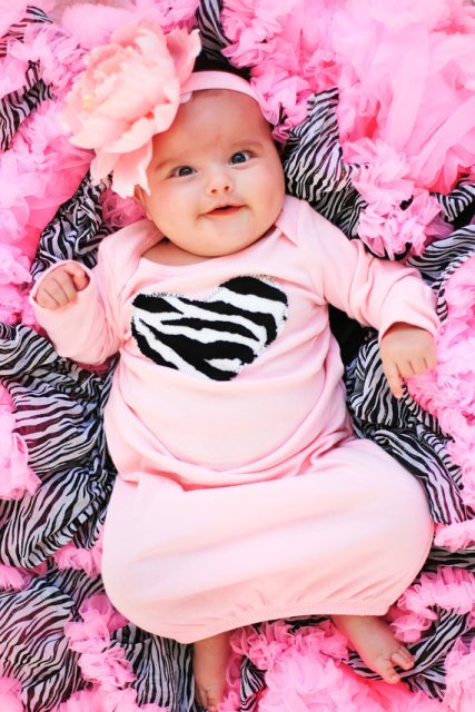 Light Pink Zebra Heart Newborn Gown