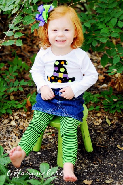 Halloween Witches Hat Shirt Leggings Hair Bow Outfit Set