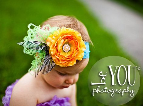 Yellow Ranuculus Flower Cluster Lace Headband-Rhinestone, Bling, Lime, Feathers , Zebra, Turquoise, hairbow, headand, infant, baby girl