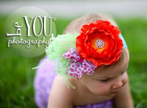 Bright Orange Ranuculus Flower Cluster Lace Headband-Ruffle, Flower, Rhinestone, Bling, Lime Feathers, Pink Cheeta, Turquoise, hairbow, infant, baby girl, boutique
