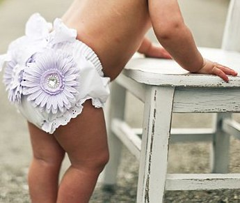 Lavender Flower Cluster Bloomer Headband Set-Lace, Feather, Flower, white, gift set, diaper cover, bloomers