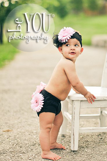 Light Pink & Black Flower Cluster Bloomer Headband Set