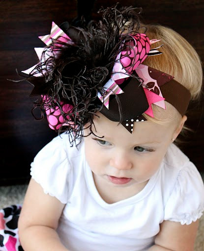 Modern Fall - Over-the-Top Hair Bow Headband-brown, pink, infant, baby girl, boutique, hairbow