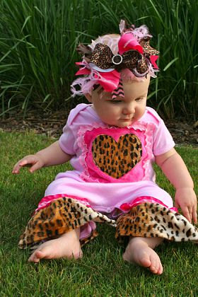Leopard & Hot Pink Bling Center - Over-the-Top Hair Bow Headband