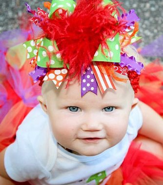 Bold & Bright Rainbow - Over-the-Top Hair Bow Headband-colorful, party, elmo, infant, baby girl, boutique, hairbow, red
