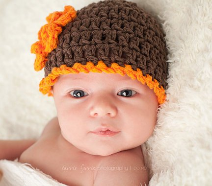 Fall Brown & Orange Crochet Flower Hat Beanie