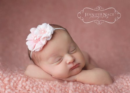 Pink Lace Pearl Flower Headband