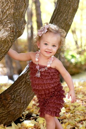 Brown Lace Petti Romper-brown, ruffle, infant, baby girl, boutique, newborn, fall