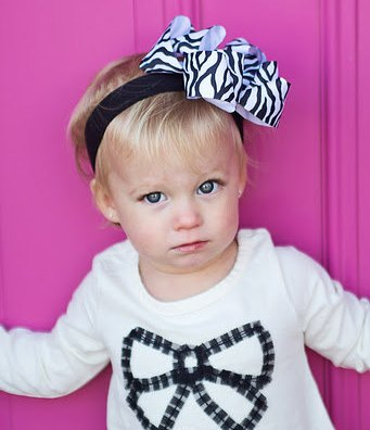 Black & White Zebra Hair Bow Headband-zebra, print, animal, hairbow
