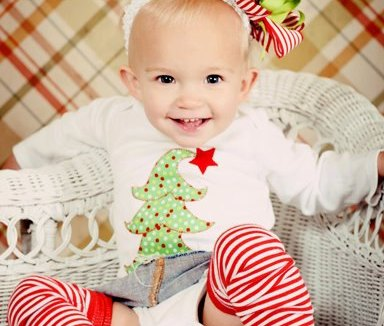 Whimsy Christmas Tree Onesie & Hair Bow Outfit Set
