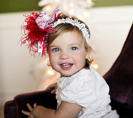 Peppermint Candy Cane Over the Top Hair Bow Headband
