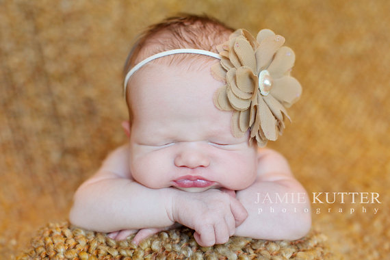Beige Pearl Couture Flower Infant Headband-tan, flower, skinny headband, baby girl