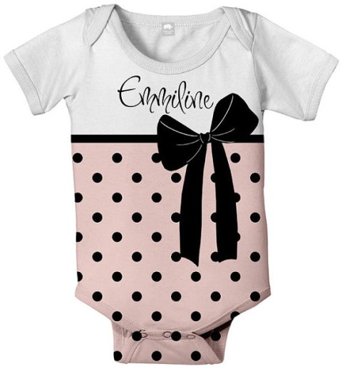 Pink Polka Dot Bow Personalized Onesie-black, white