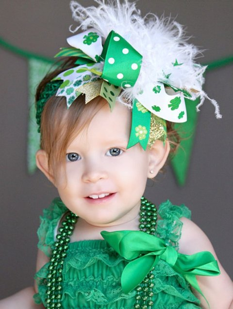 Shamrock Shimmer - Over-the-Top Hair Bow Headband-white, green, clover, clover