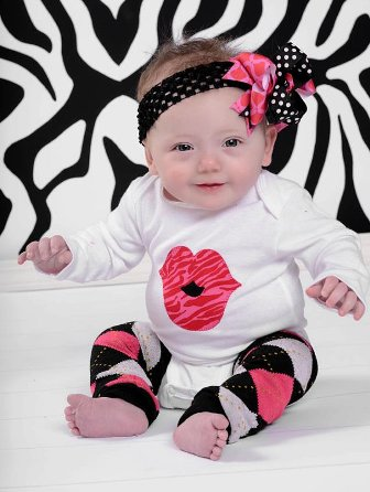 Big Kiss Lips Onesie & Hair Bow Outfit Set