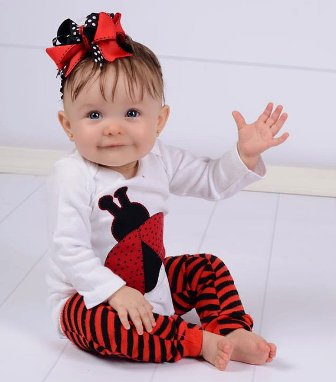 Lady Bug Onesie & Hair Bow Outfit Set