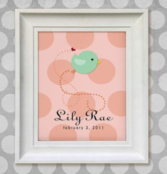Little Bird Personalized Childrens Art Print-Childrens, Art, Print, Personalized , Bird, 8x10 ,Baby, Nursery ,Decor