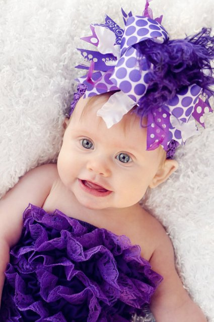 Dark Purple - Over-the-Top Hair Bow Headband-purple, polka dots, feathers, crown
