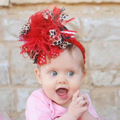 Red & Leopard Over the Top Hair Bow Headband