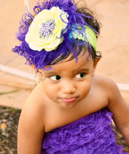 Dark Purple & Lime Sequin Bling Flower Headband