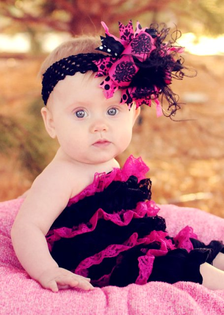 Shocking Pink & Black - Medium Hair Bow Headband
