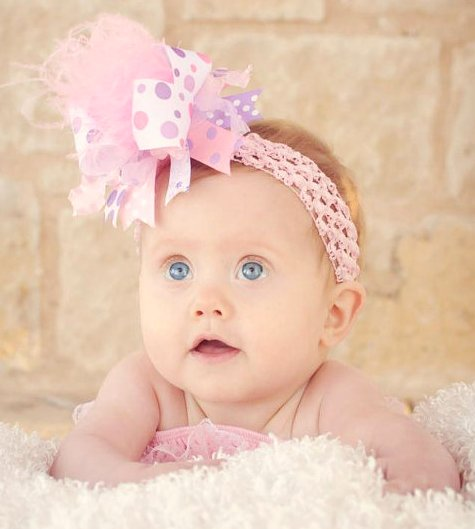 Light Pink & Lavender - Medium Hair Bow Headband