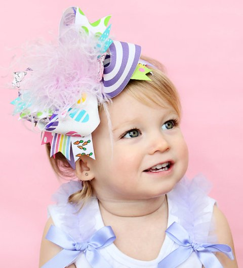 Easter Basket - Over-the-Top Hair Bow Headband-colorful, paster, easter, chicks, carrots, bunnies